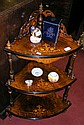 A 19th century three tier inlaid walnut whatnot