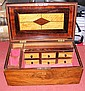 A 19th century rosewood workbox with fitted