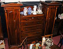 """A Victorian mahogany """"Sentry Box"""" wardrobe - 7ft wide"""