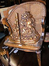 Cane work chair, together with two gilt wall brackets