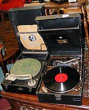 An old Keast wind-up portable gramophone and one other