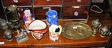 Cast metal Indian bust, together with a commemorative plate, etc.