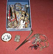 Various collectable costume jewellery, bangles, glove stretchers, etc.
