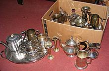 Nice selection of silver plated ware, including Victorian teapots, etc.