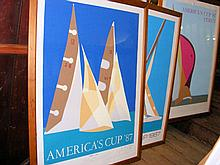 """FRANCO COSTA - three America's Cup '87 lithographs, including """"Don't Jibe"""","""
