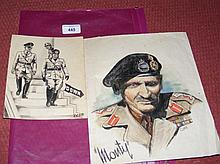 """Two original pieces of Second World War artwork depicting Hitler and """"Monty"""
