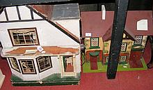 An old Amasham TRI-ANG early 20th century dolls house with fitted vintage f
