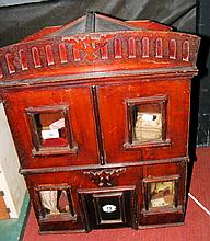 An old wooden four room dolls house with fitted vintage furniture - 58cm wi