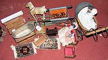 Selection of vintage dolls house furniture, including metal pram, bath, etc