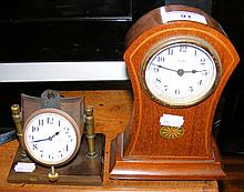 Inlaid Edwardian mantel clock, together with a pocket watch on stand