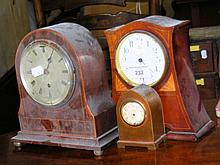 An Edwardian mantel clock, together with two others