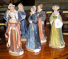 Set of 21cm high plaster figures of Henry VIII with his wives