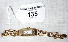 Classic 1930's style 9ct gold lady's cocktail watch on 9ct gold bracelet