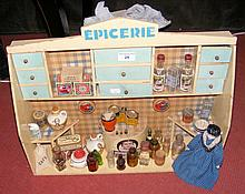 Circa 1930's French dolls Epicerie cream and blue painted display counter,