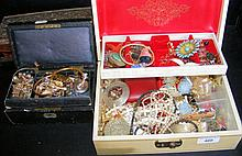 Four jewellery boxes containing costume jewellery, including bracelets, nec