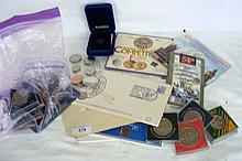 Selection of collectable coinage, crowns, etc.