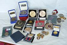 Selection of collectable shooting medals, etc.