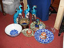 Selection of oriental ceramicware, including plates, jar and cover, etc.
