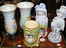 A musical tankard by Grimwades of England, together with other ceramicware