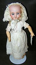 Simon and Halbig antique bisque head doll with glass eyes, open mouth and c