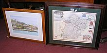 A Limited Edition print of The Royal Yacht Squadron, together with a map of