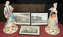 Four Isle of Wight monochrome engravings, together with two decorative mode