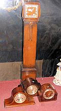 Oak cased Grandmother clock, together with three mantel clocks