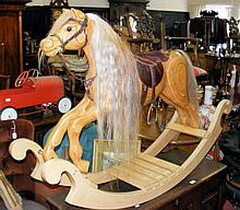 Good quality handmade child's wooden rocking horse with leather saddle - 14