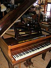 A German mahogany cased Baby Grand Piano Forte with stool