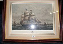 "Picture of the First-Class Packet Ship ""Yorkshire"" of New York - framed and"