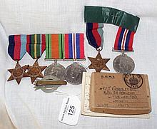 A set of Second World War medals, etc.