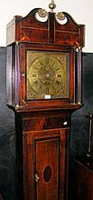 A 19th century eight day Grandfather clock with 30cm square brass dial, hav