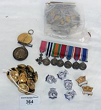 Set of miniature medals, AA Badge, buttons, etc.