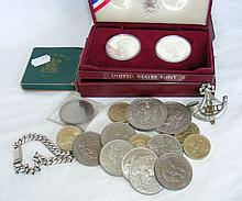 Various collectable coinage, including crowns, United States silver Dollars