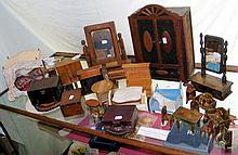 Selection of old dolls house furniture, including tables and chairs, wardro