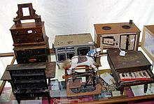 Selection of old wooden and metal dolls house furniture, including dresser,