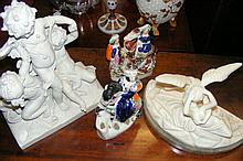 Pair of Staffordshire figures, together with cherub study etc.