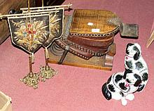Set of old foot operated fire bellows, Staffordshire dogs, etc.