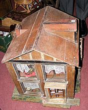 An antique continental style dolls house with fitted vintage furniture - 56