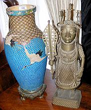 Oriental vase on metal stand with turquoise ground and Herons in flight - 5