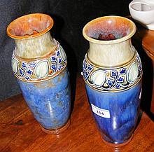 Pair of 26cm high Doulton stoneware vases