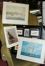 Beken and Son photographs of yachts, together with watercolour, mounted pos