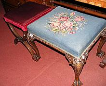 A carved stool with tapestry top, together with an X-framed stool