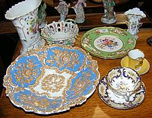 Collectable ceramicware, including Copeland plate, cups and saucers