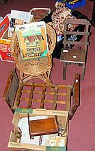 Selection of old dolls chairs, clothing, furniture and books