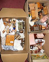 Three boxes containing various vintage and other dolls house furniture, inc
