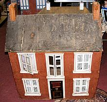 A large antique French wooden dolls house with four rooms - 86cm wide x 98c