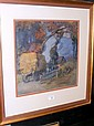 C MACKIE - 36cm x 35cm - watercolour - hay wagon