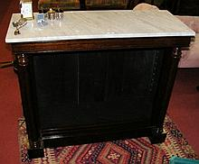 Regency marble top bookcase with turned side columns