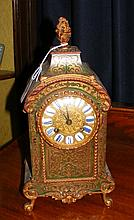 Antique French Boulle work mantel clock - 30cm high